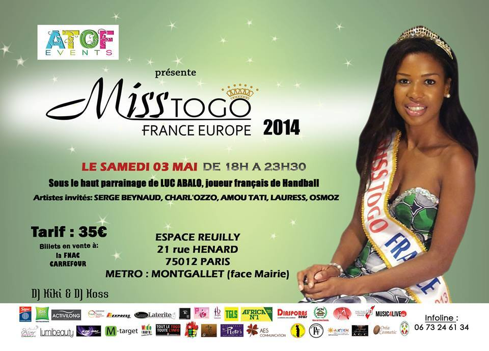 miss togo france 2014 the happy elected representative to. Black Bedroom Furniture Sets. Home Design Ideas