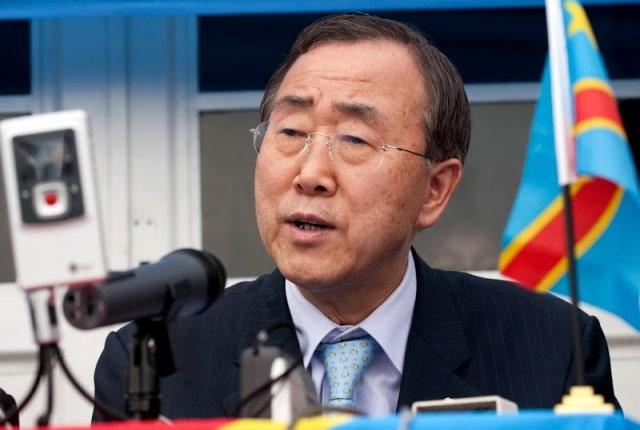Ban ki Moon, secrétaire général des Nations Unies, 2mars 2009 à Kinshasa