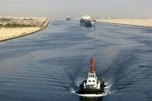 Ship passing through the Suez Canal