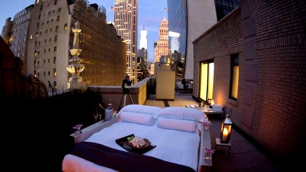 A view of a terrace bedroom atop the AKA Central Park Hotel July 24, 2013 in New York. The room offers a chance to sleep under the stars and the lights of Manhattan. AFP PHOTO/Don Emmert
