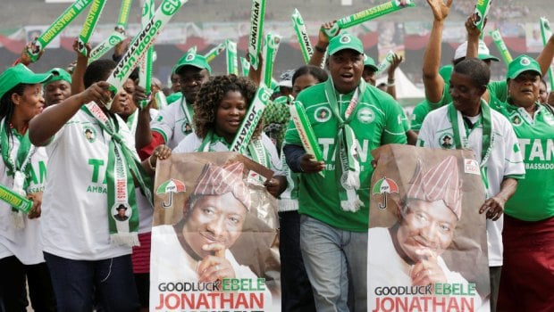Supporters of Nigeria President Goodluck Jonathan, dance, during an election campaign rally, at Tafawa Balewa Square in Lagos, Nigeria, Thursday, Jan. 8, 2015. The president launches his bid for re-election at a time when Africa?s biggest oil producer is more divided than ever, amid a growing Islamic uprising in the northeast and slumping oil prices and the naira currency biting into people?s pockets. (AP Photo/Sunday Alamba)