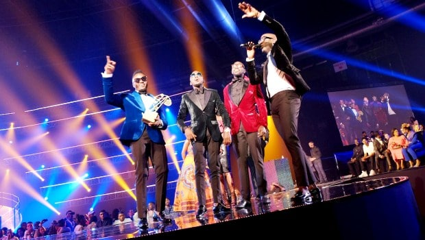 The band Sauti Sol receive a throphee during the MAMA 2016, in Johannesburg, South Africa on October 22nd, 2016