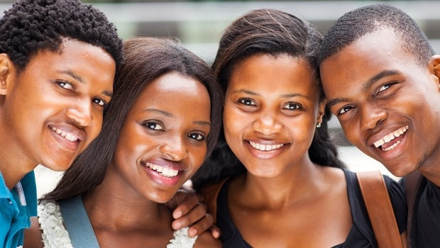 group of african american college students closeup