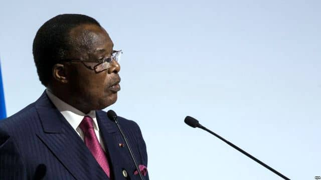 epa05049890 Congolese President Denis Sassou Nguesso delivers a speech as he attends Heads of States' Statements ceremony of the COP21 World Climate Change Conference 2015 in Le Bourget, north of Paris, France, 30 November 2015. The 21st Conference of the Parties (COP21) is held in Paris from 30 November to 11 December aimed at reaching an international agreement to limit greenhouse gas emissions and curtail climate change. EPA/ETIENNE LAURENT