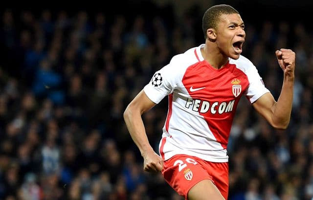Kylian Mbappe of Monaco celebrates the 2nd goal for Monaco
