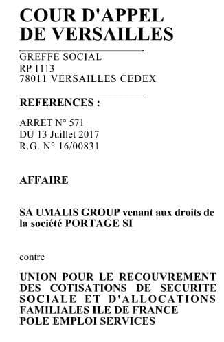 Umalis Fait Condamner Les Urssaf Et Pole Emploi En Appel  Juillet